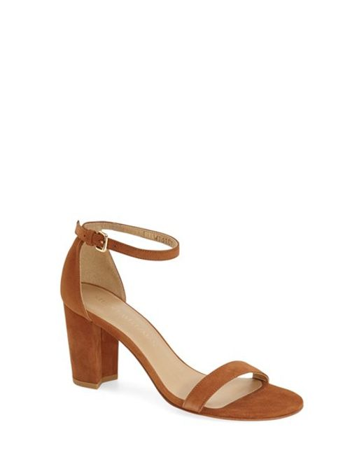Stuart Weitzman | Brown 'nearlynude' Ankle Strap Sandal | Lyst