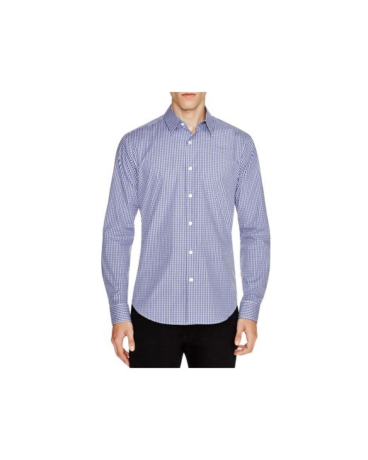 Theory | Blue Sylvain Amicable Gingham Slim Fit Button Down Shirt for Men | Lyst