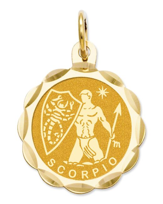 Macy's | Metallic 14k Gold Charm, Engraveable Scorpio Zodiac Disc Charm | Lyst