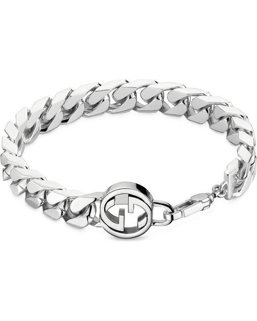 Gucci | Metallic Interlocking G Sterling Silver Bracelet | Lyst