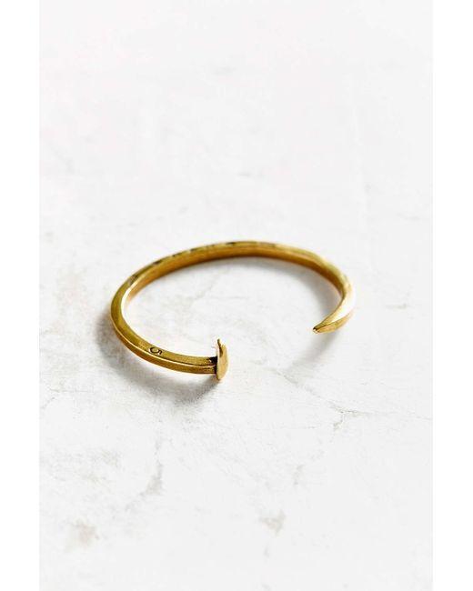 Giles & Brother | Metallic Skinny Railroad Spike Antiqued Brass Cuff Bracelet | Lyst