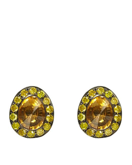 Annoushka | Orange Dusty Diamonds Citrine Stud Earrings | Lyst