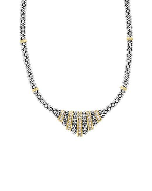 Lagos | Metallic 'caviar' Diamond Pendant Necklace | Lyst