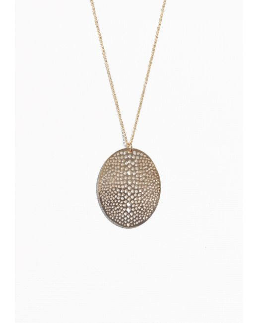 & Other Stories | Metallic Fossil Pendant Necklace | Lyst