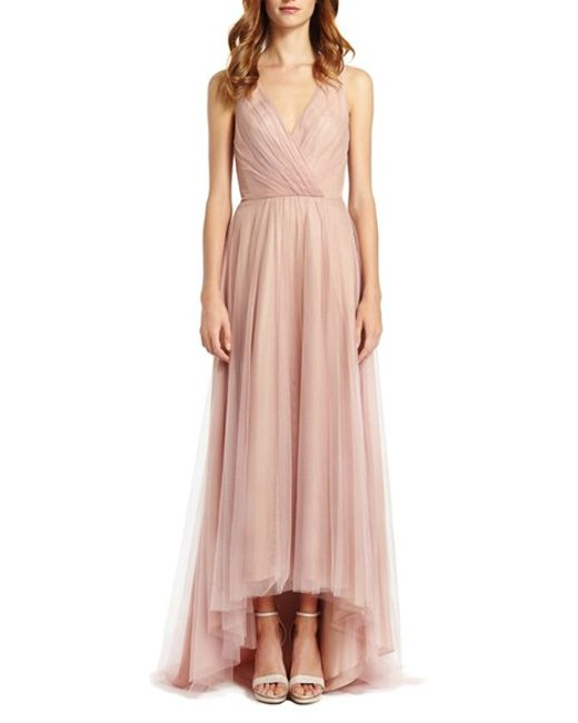 Monique lhuillier bridesmaids high low tulle gown in pink for Monique lhuillier pink wedding dress