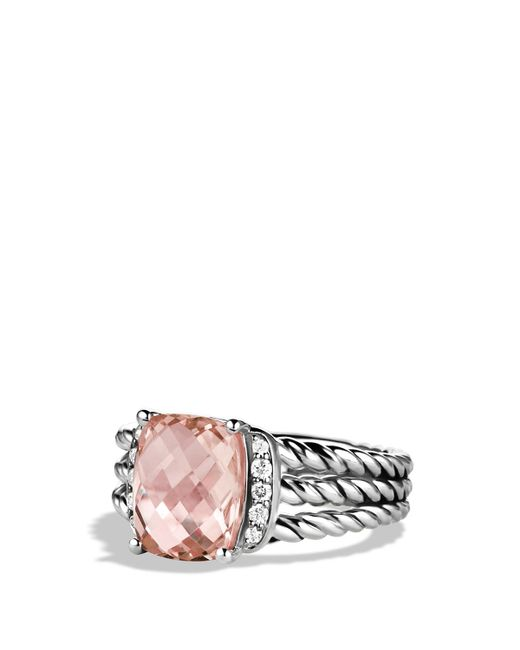 David Yurman | Metallic Petite Wheaton Ring With Morganite And Diamonds | Lyst