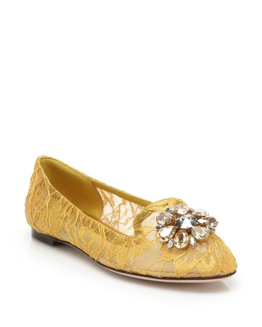 Dolce & Gabbana | Yellow Embellished Lace Loafers | Lyst