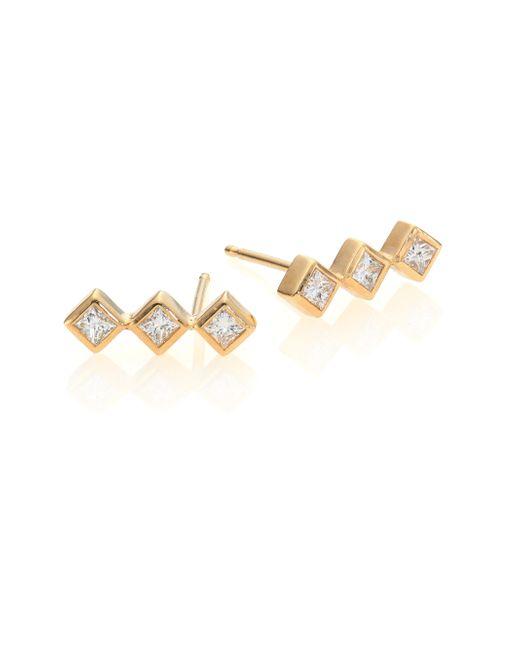 Zoe Chicco | Metallic Diamond & 14k Yellow Gold Princess Stud Earrings | Lyst