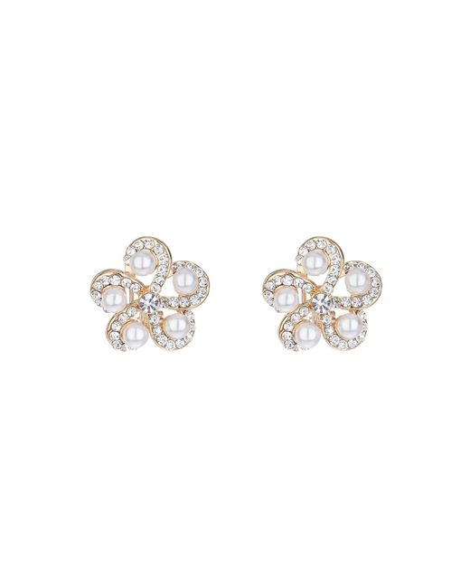 Mikey | White Spiral Crystal Pearl End Stud Earring | Lyst