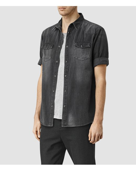 Allsaints Marilla Half Sleeve Denim Shirt In Multicolor