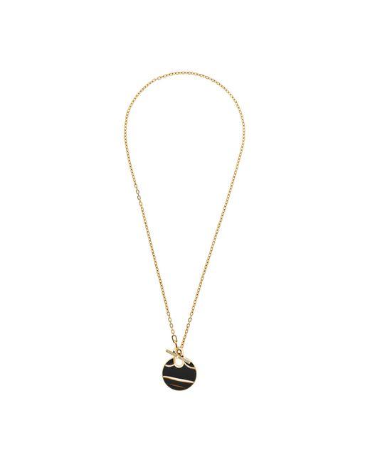 Michael Kors | Metallic Gold-tone Pavé And Black Agate Pendant Necklace | Lyst
