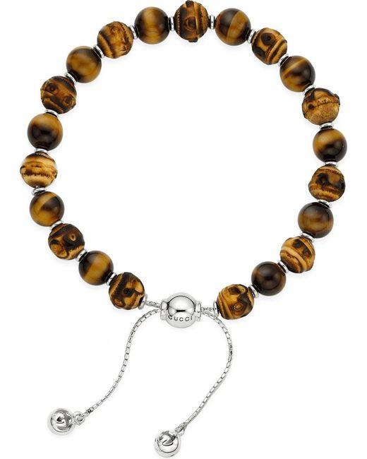 Gucci | Metallic Bamboo Tigereye Bead Bracelet | Lyst