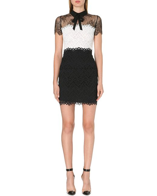 Sandro | Black Rozen Lace-panel Bow Dress | Lyst
