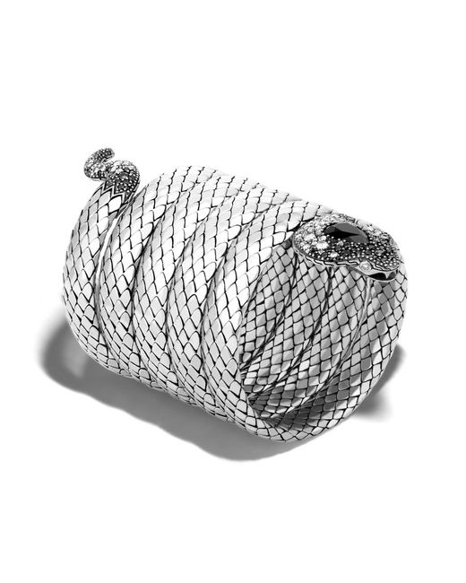 John Hardy | Metallic Cobra Multiple Coil Bracelet With Black Chalcedony | Lyst