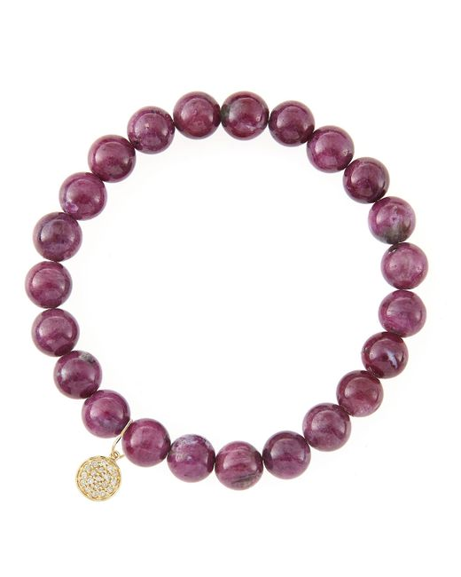 Sydney Evan | Red 8Mm Natural Ruby Beaded Bracelet With 14K Gold/Diamond Medium Ladybug Charm (Made To Order) | Lyst