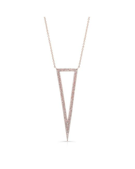 Anne Sisteron | Pink 14kt Rose Gold Diamond Open Triangle Necklace | Lyst