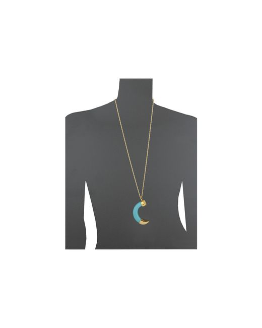 Kenneth Jay Lane | Blue Large Tusk W/ Gold Tip Pendant Necklace | Lyst