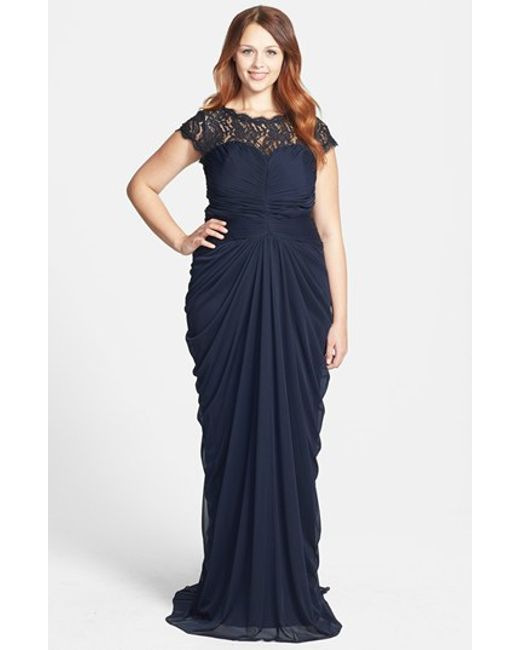 Adrianna Papell Lace Yoke Drape Mesh Gown In Blue Lyst