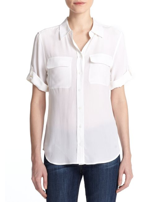 Equipment | White Short-sleeve Slim Blouse | Lyst