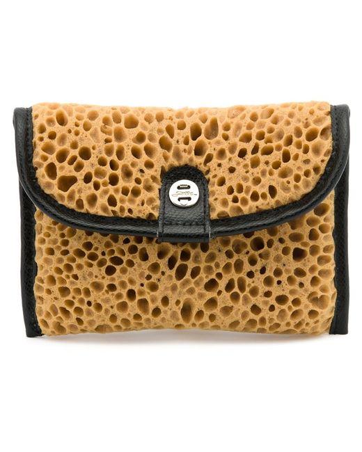 zilla artificial spongel clutch in beige black lyst. Black Bedroom Furniture Sets. Home Design Ideas