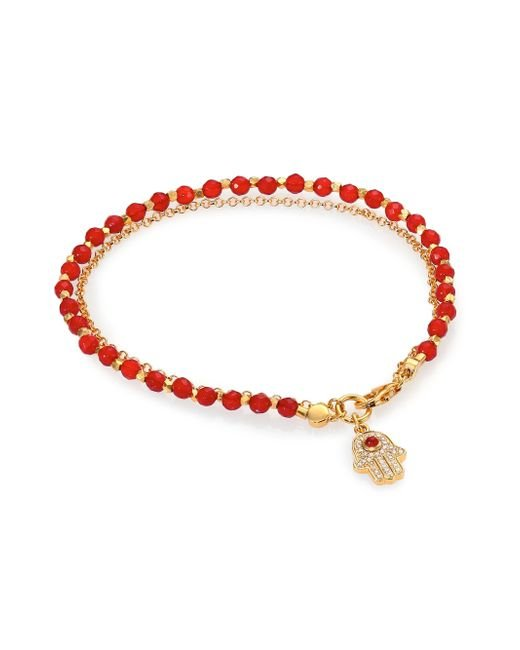 Astley Clarke | 'hamsa' 18k Gold Red Agate Friendship Bracelet - Protection & Strength | Lyst