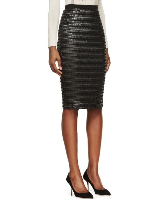 burberry black silk sequin embroidered midi skirt