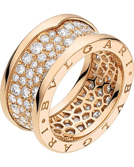 BVLGARI | B.zero1 18kt Pink-gold And Diamond Ring | Lyst