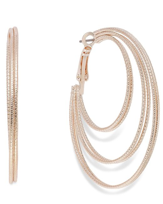 INC International Concepts | Pink Rose Gold-tone Textured Orbital Hoop Earrings | Lyst