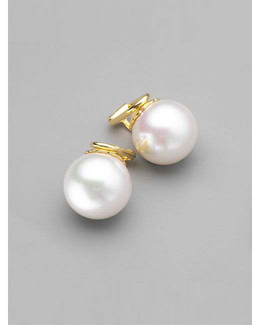 Majorica | 14mm White Pearl Clip-on Earrings | Lyst