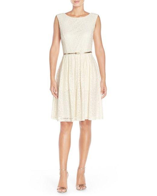 Ellen Tracy | Metallic Pleated Lace Fit & Flare Dress | Lyst