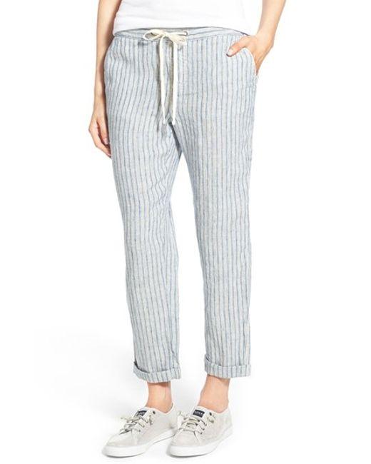 Caslon Linen Tie Front Crop Pants In Blue Blue Chloe