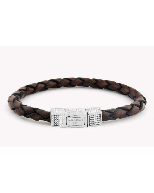 Tateossian   Single Wrap Brown Leather Scoubidou Bracelet With White Diamond And 18k White Gold Clasp for Men   Lyst