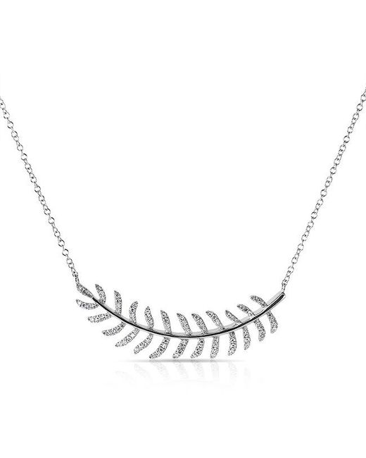 Anne Sisteron - Metallic 14kt White Gold Diamond Crescent Palm Necklace - Lyst