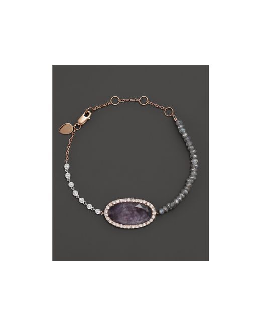 Meira T | Pink 14k Rose Gold Rough Amethyst Beaded Bracelet With Diamonds | Lyst