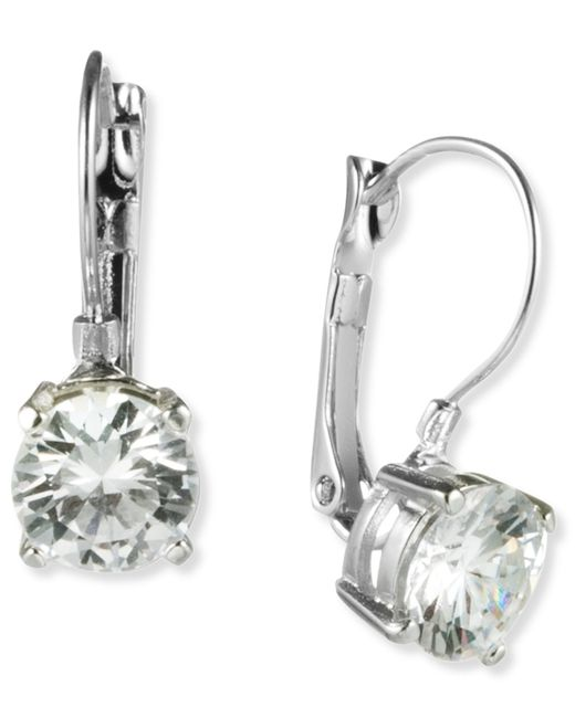 Nine West | Metallic Silver-tone Round-cut Crystal Drop Earrings | Lyst