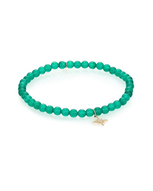 Sydney Evan | Diamond, Green Onyx & 14k Yellow Gold Starburst Beaded Stretch Bracelet | Lyst