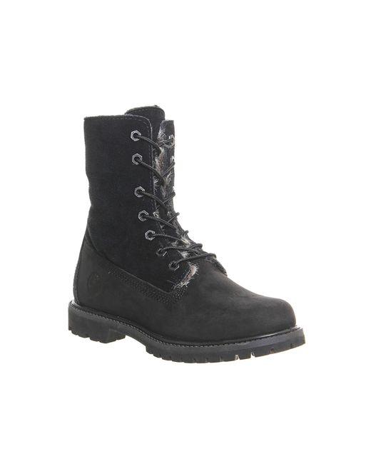 Timberland | Black Fur Fold Down Boots | Lyst