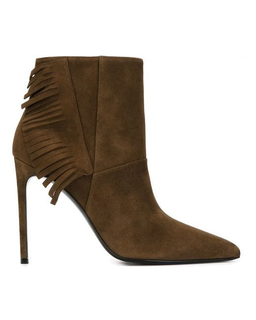 Saint Laurent | Brown Fringed Ankle Boots | Lyst