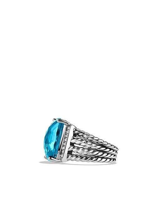 David Yurman | Wheaton Ring With Blue Topaz And Diamonds | Lyst