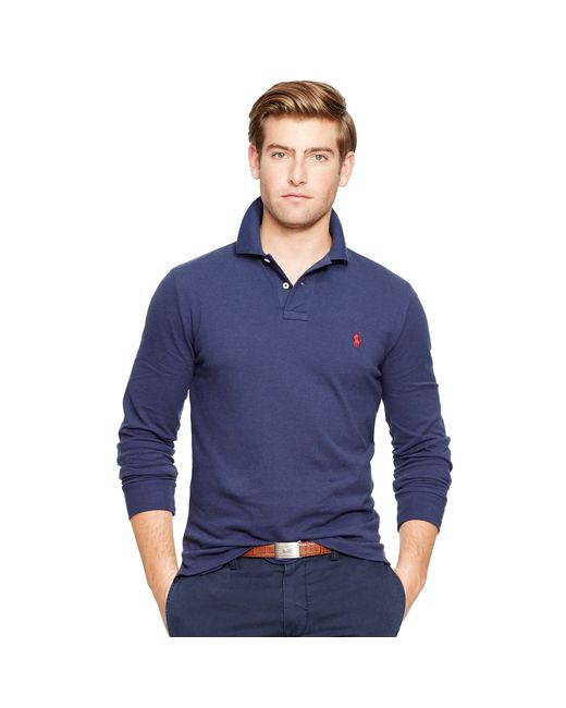 Polo Ralph Lauren | Blue Custom-fit Long-sleeve Polo for Men | Lyst