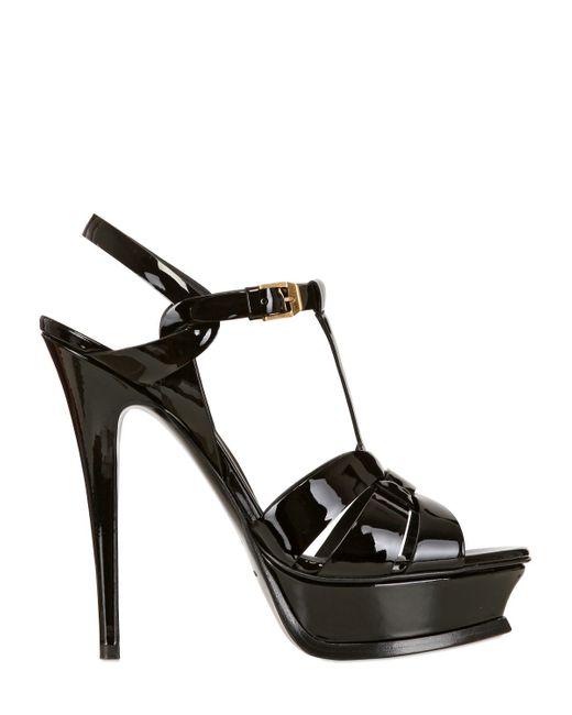 Saint Laurent | Black Tribute Patent Leather Platform Sandals | Lyst