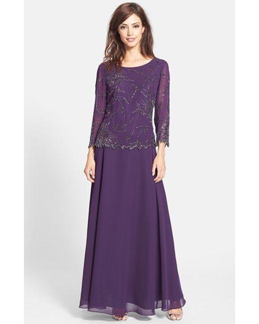 J Kara Beaded Chiffon Gown In Purple Plum Mercury Lyst