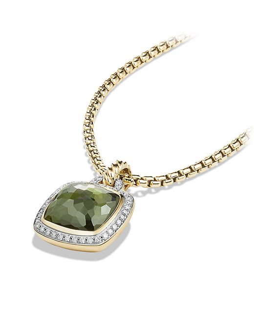 David Yurman | Metallic Albion Pendant With Green Orchid And Diamonds In 18k Gold, 14mm | Lyst