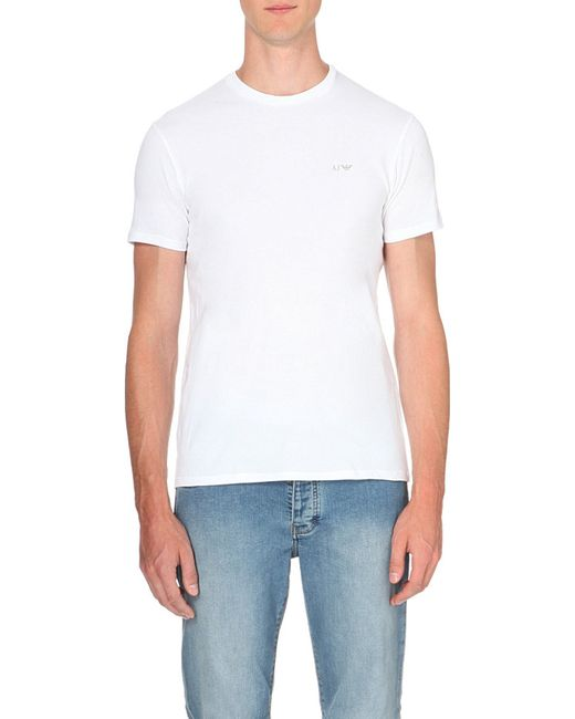 Armani Jeans | White Pack Of Two Cotton-jersey T-shirts for Men | Lyst