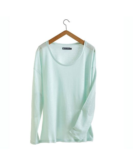 Petit Bateau | Blue Women's Long-sleeved Linen And Lacquered Linen Tee | Lyst