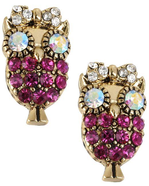 Betsey Johnson | Metallic Antique Gold-tone Owl Stud Earrings | Lyst
