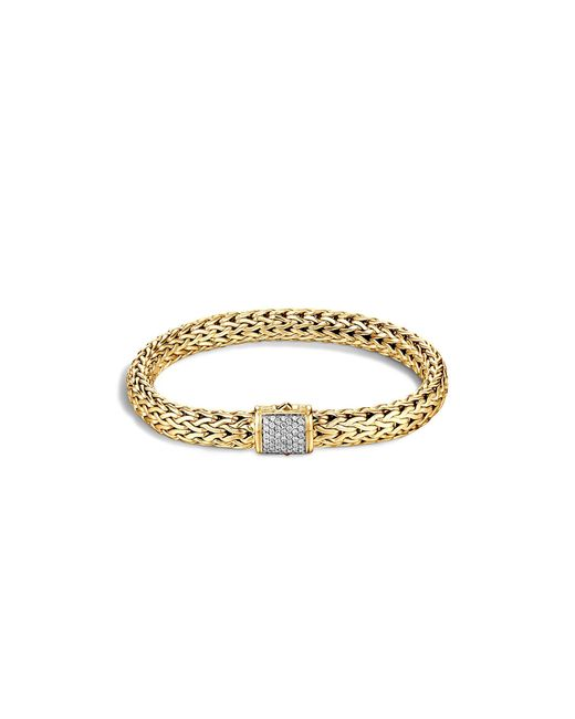 John Hardy | Metallic Classic Chain 18k Gold Diamond Pave Medium Bracelet | Lyst