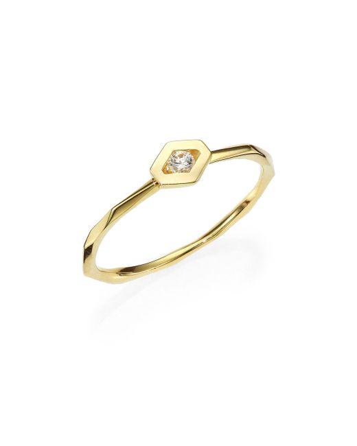 Ron Hami | Metallic Rain Diamond & 18k Yellow Gold Hexagon Boutique Ring | Lyst