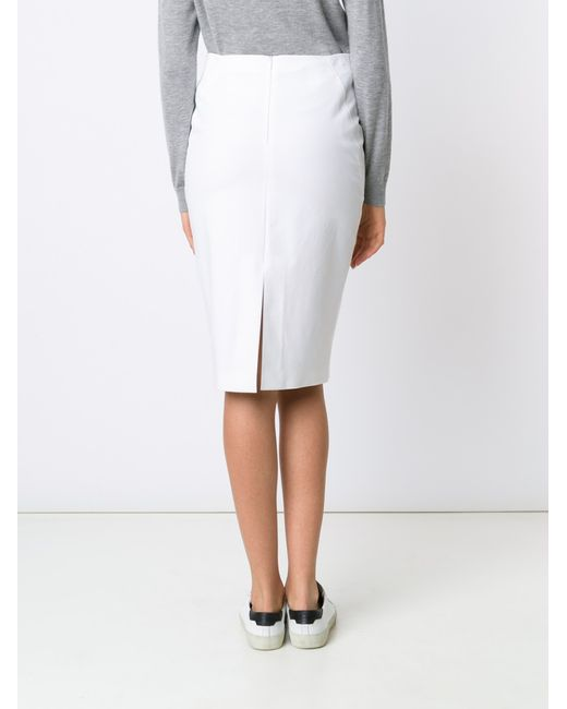 brunello cucinelli stretch cotton pencil skirt in white lyst