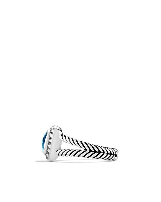 David Yurman | Petite Albion Ring With Blue Topaz And Diamonds | Lyst
